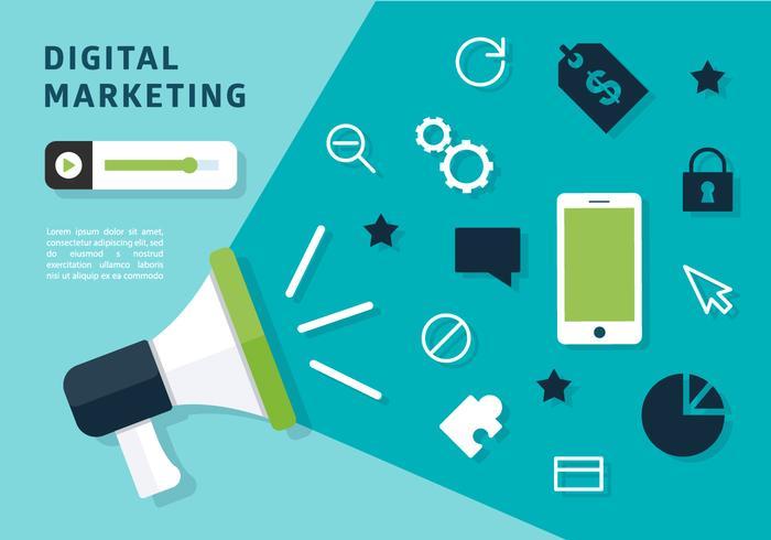 Vecteur de mégaphone de marketing numérique gratuit