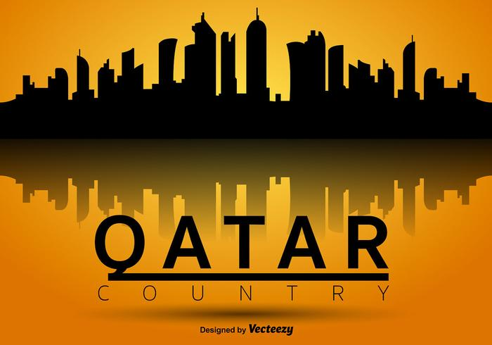 Icône silhouette silhouette qatar vecteur