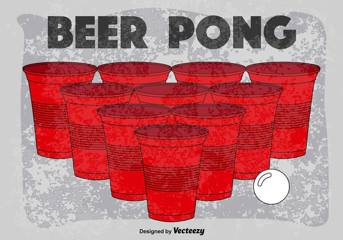 Affiche rétro vectorielle du jeu de pong de bière vecteur