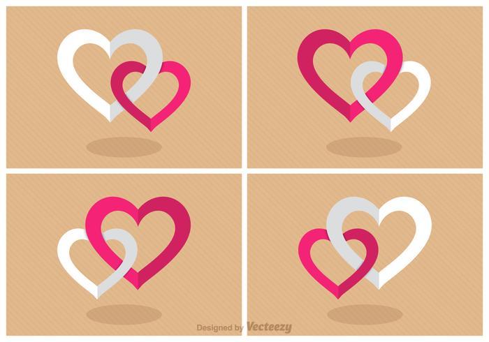Vecteur de coeur combiné plat gratuit