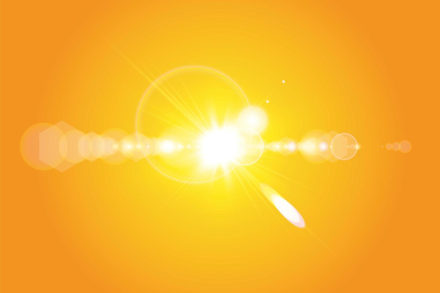 soleil chaud et flare sur dégradé jaune orange vecteur