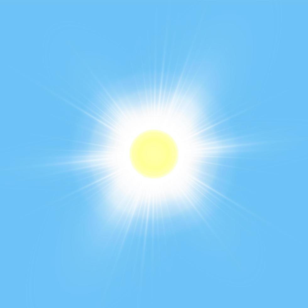 soleil brillant brillant isolé sur bleu vecteur