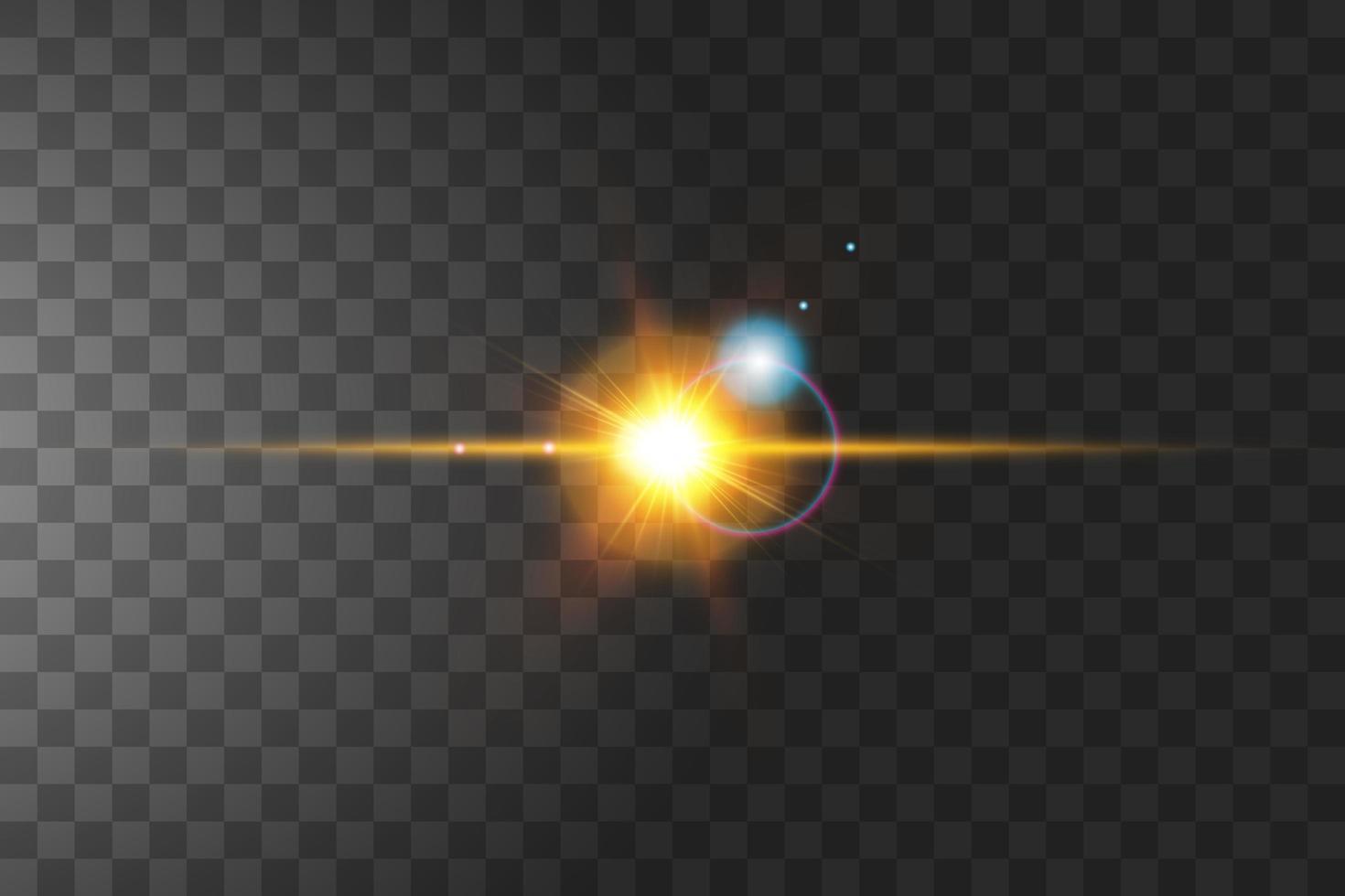 soleil flare isolé sur la transparence vecteur