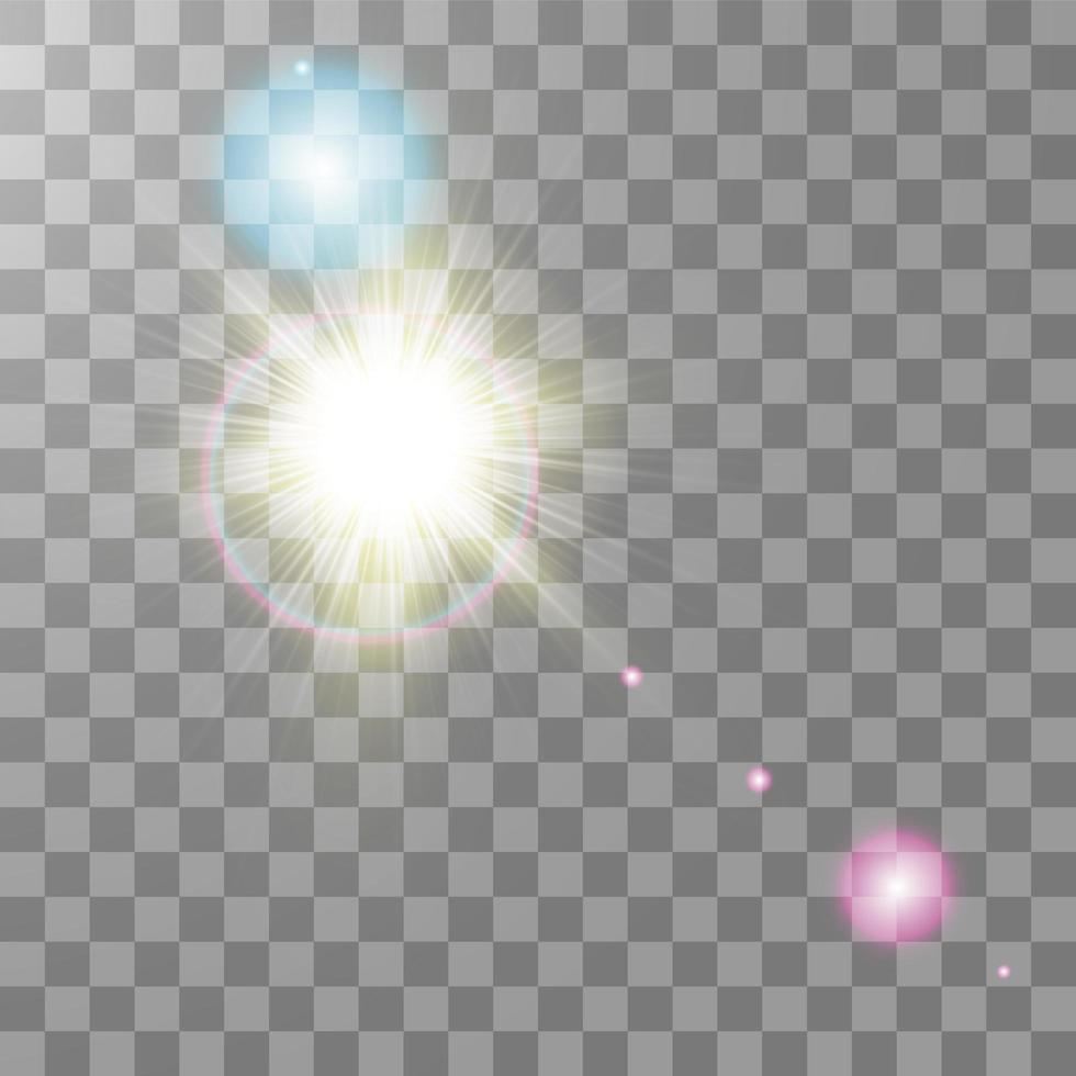 effet de lumière flare lentille spéciale colorée vecteur