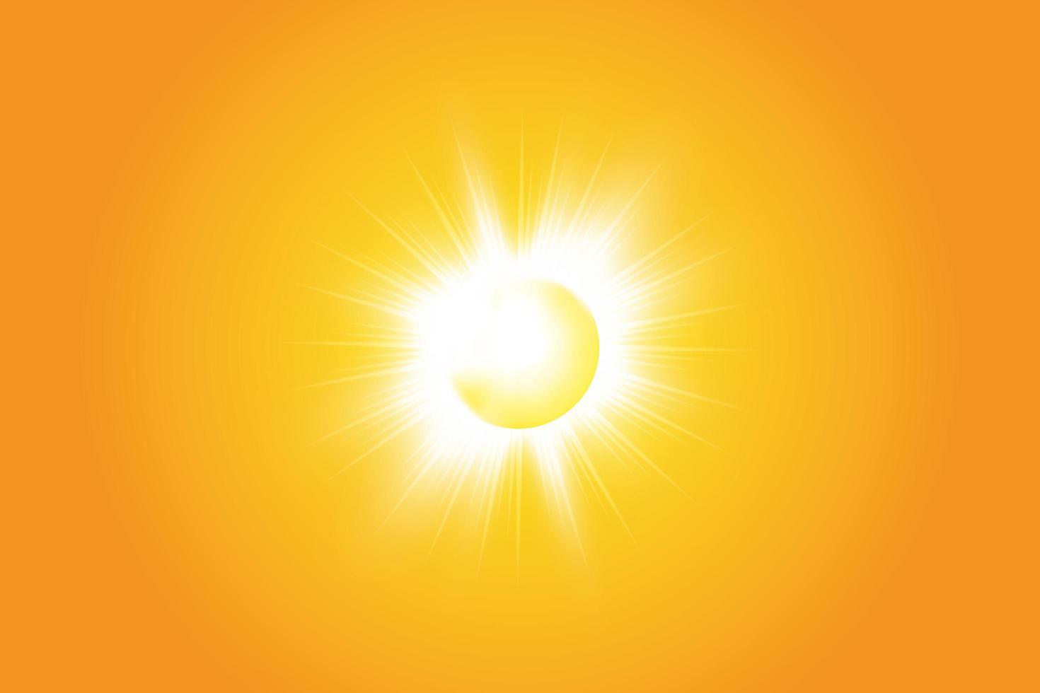 soleil brillant brillant sur jaune vecteur