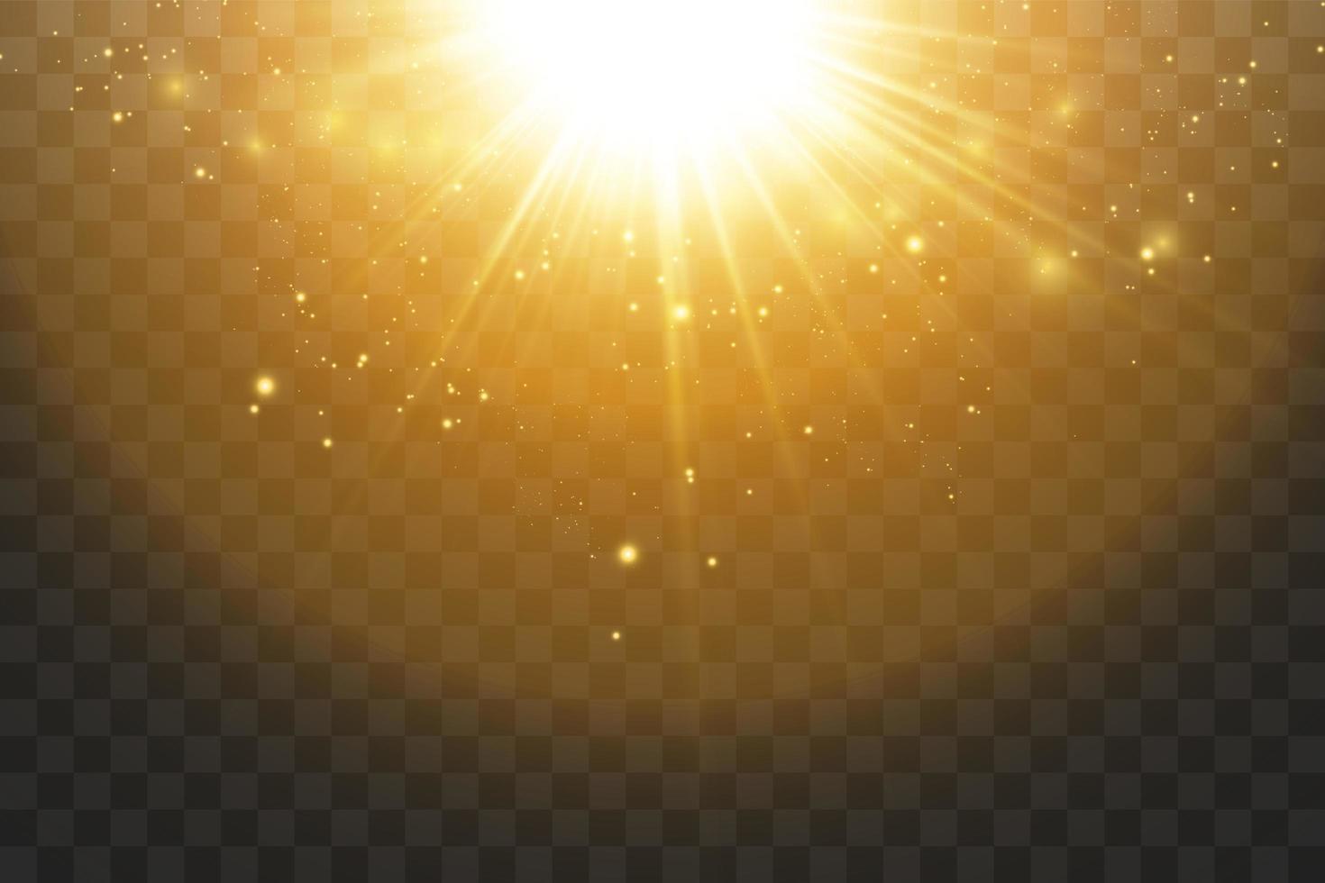 étoiles dorées brillantes et lumière parasite vecteur