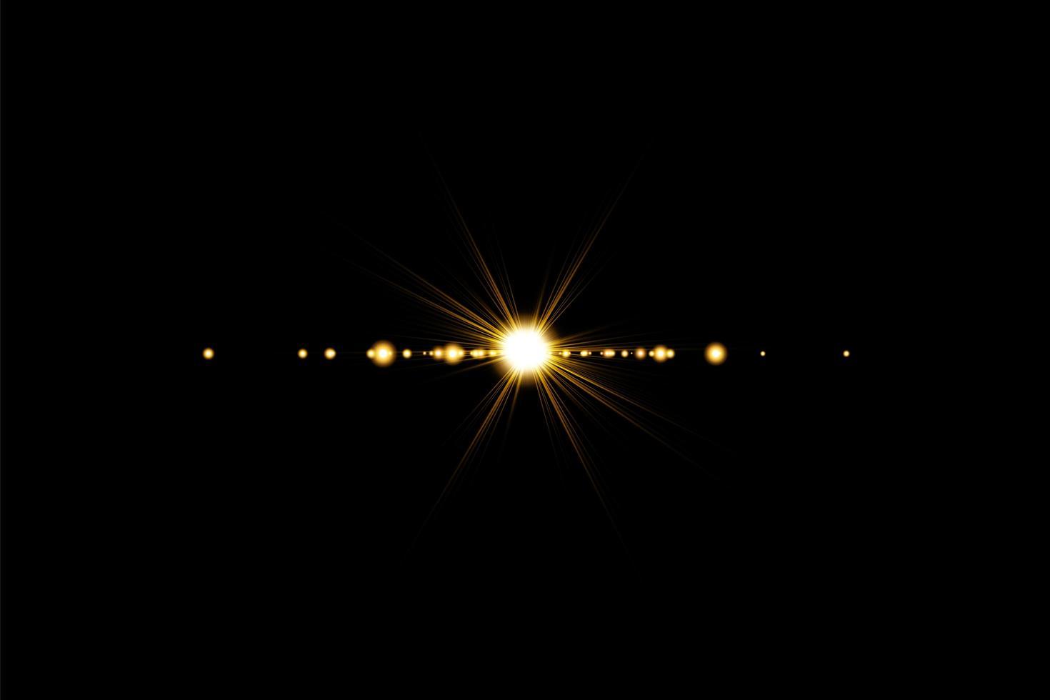 flare de lentille brillante de couleur chaude dorée vecteur