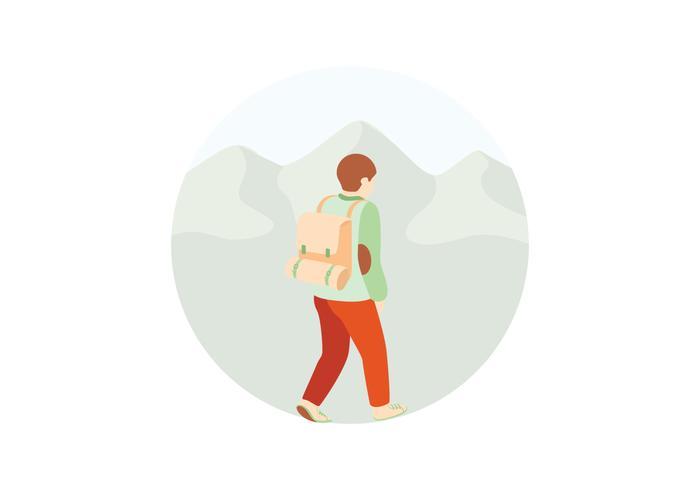 Illustration randonnée pédestre vecteur