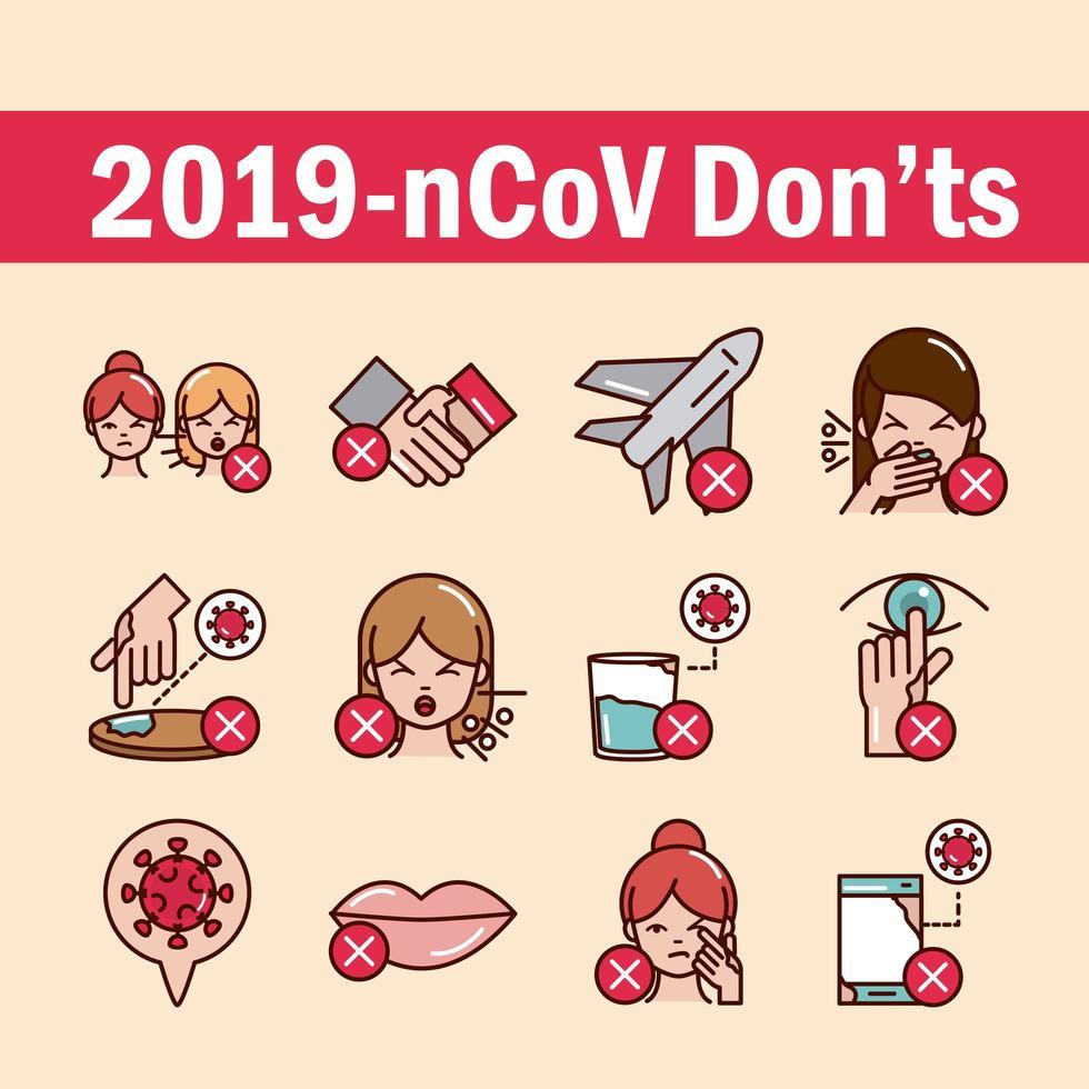 covid19 ne fait pas d'icônes lignées brillantes vecteur