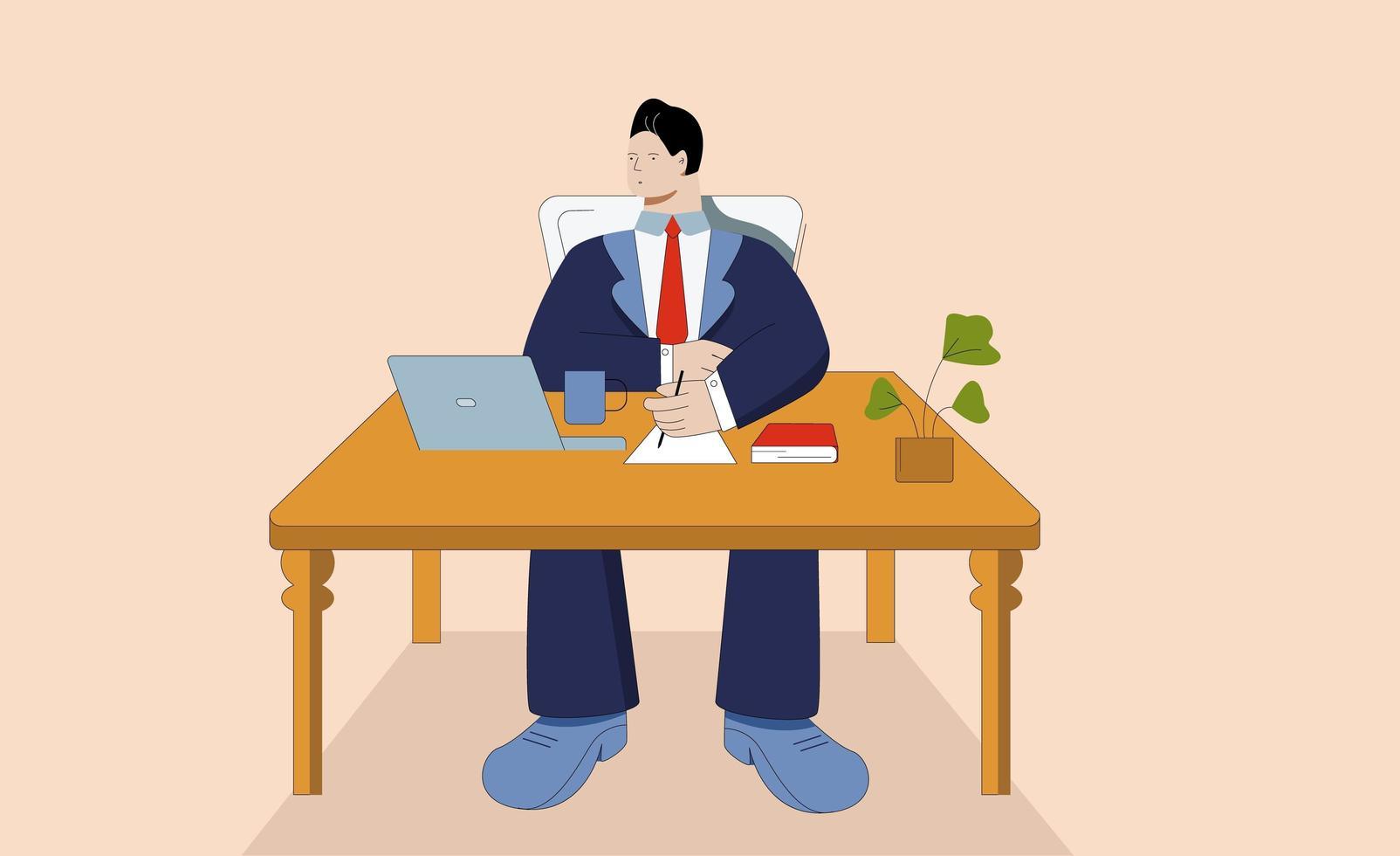 homme d & # 39; affaires de dessin animé travaillant sur ordinateur portable sur le lieu de travail vecteur