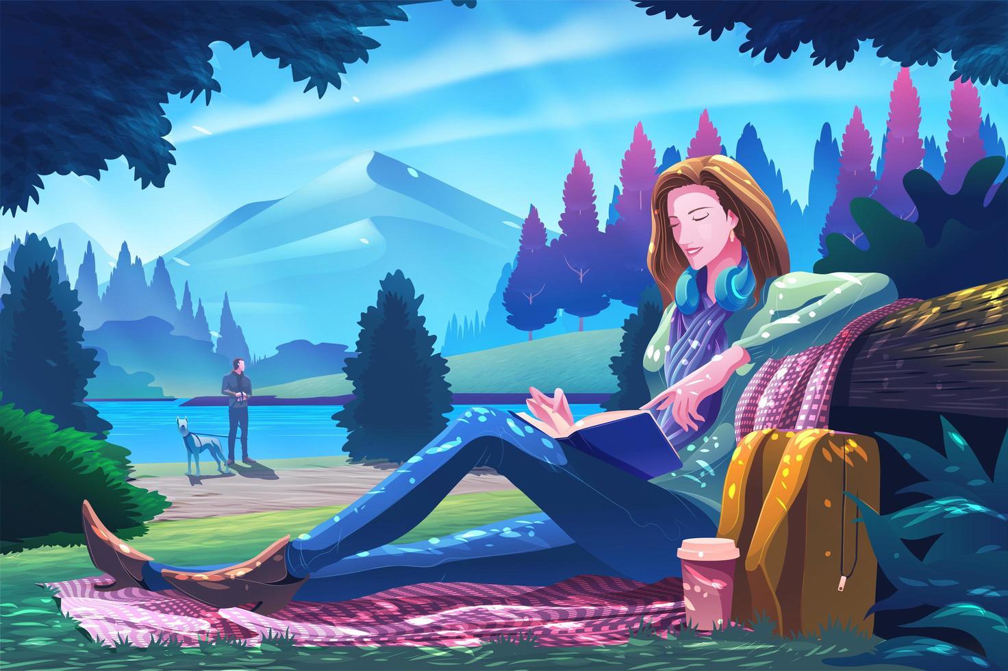 Jolie femme lisant un livre dans un parc public vecteur