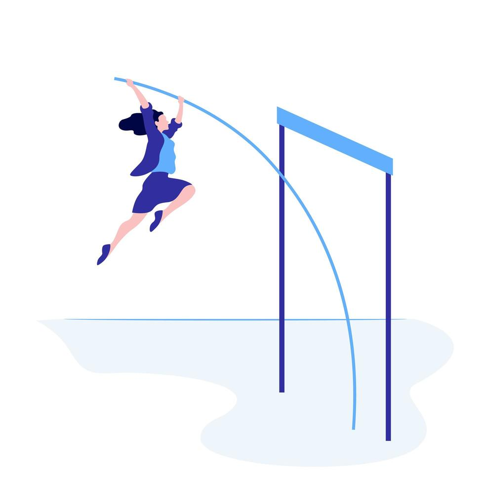 femme d'affaires prospère sautant par-dessus l'obstacle vecteur
