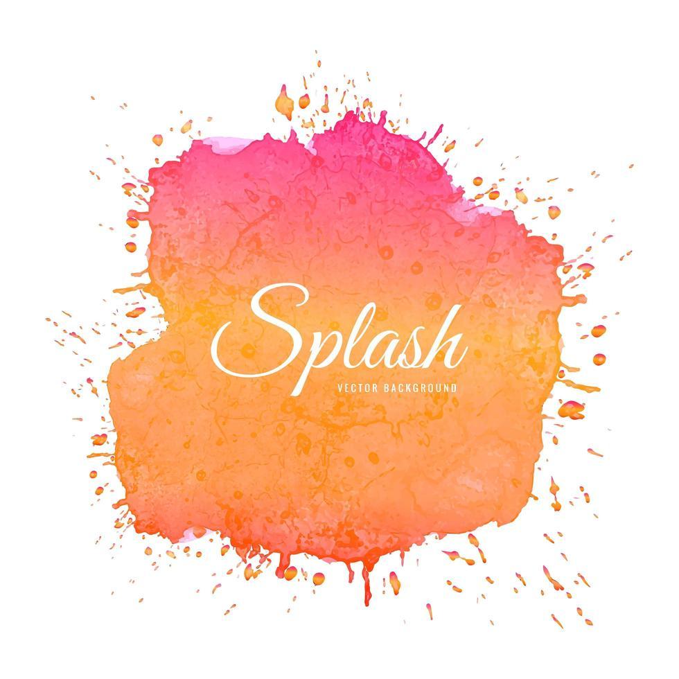 texture de splash aquarelle abstraite dégradé rose orange vecteur
