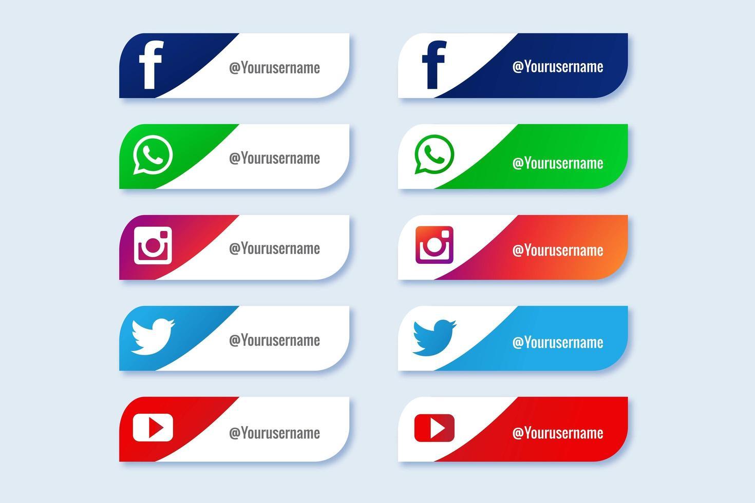jeu d'icônes du tiers inférieur des médias sociaux populaires vecteur