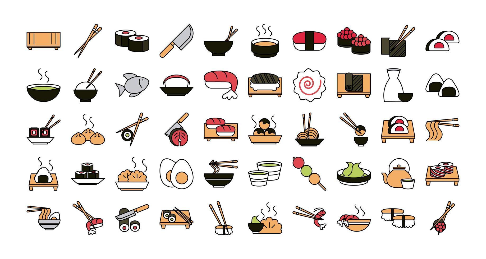 jeu d'icônes de cuisine orientale sushi vecteur
