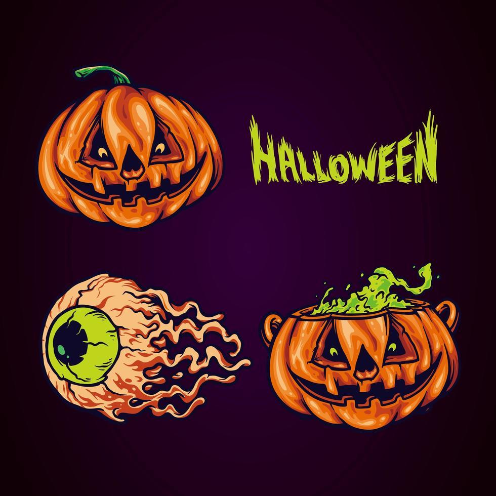 ensemble d'éléments fantasmagoriques d'halloween vecteur