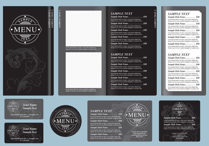 Modèles de menus noirs vecteur