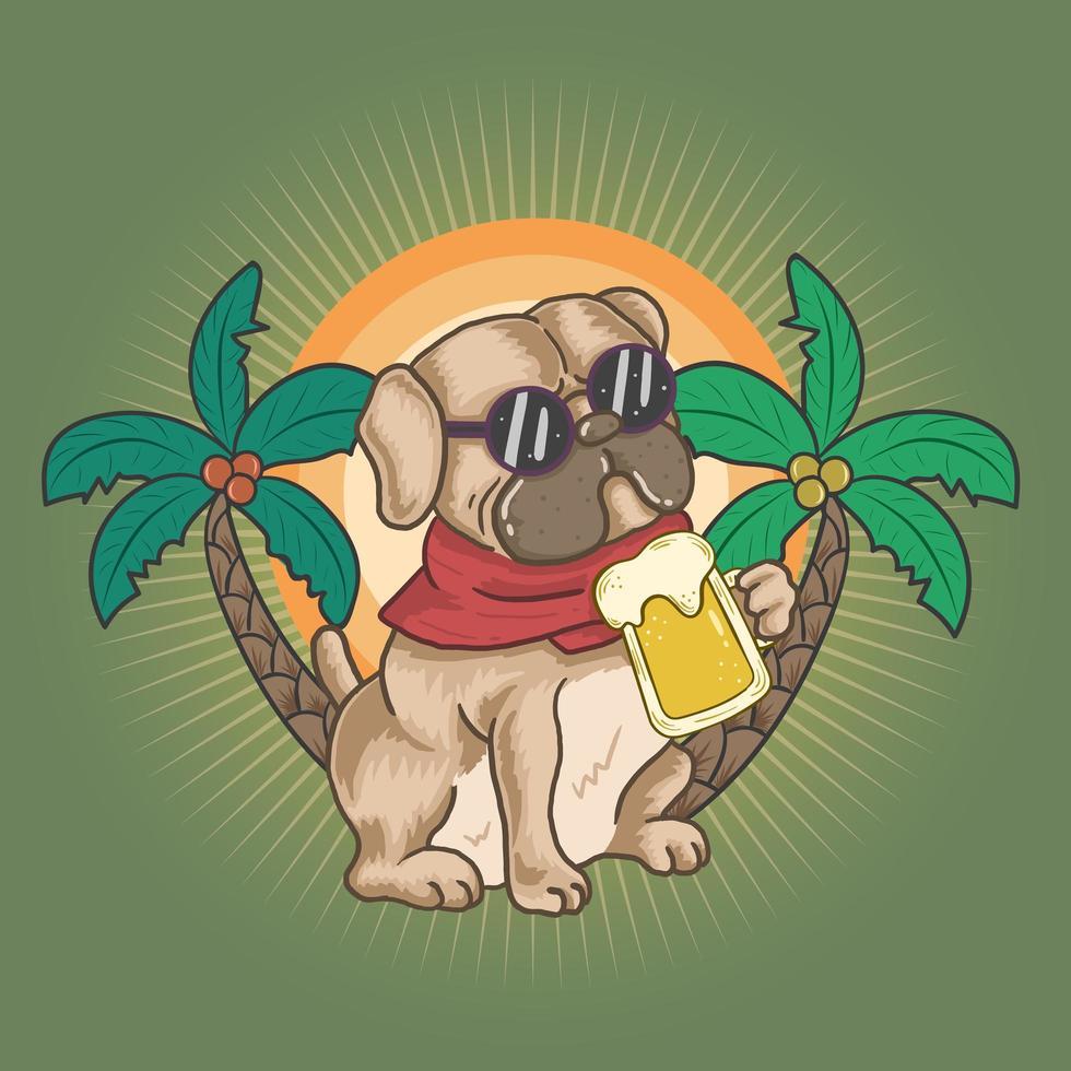chien carlin boit une bière en été vecteur