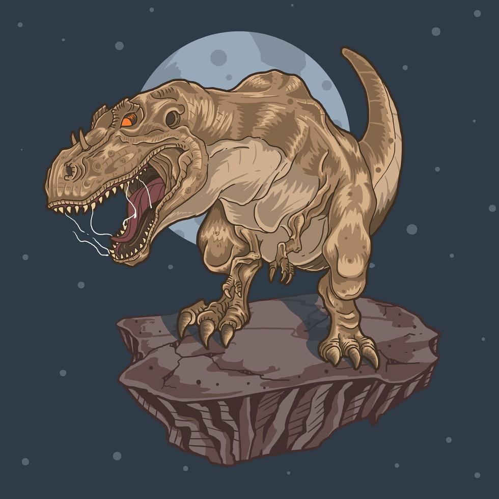 Dinosaure tyranosaurus rex sur rocher dans l'espace vecteur