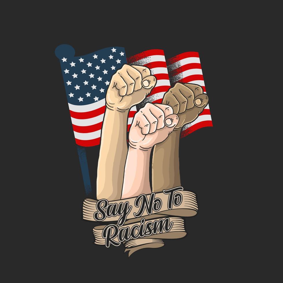 dire non à la conception du racisme avec les poings levés sur le drapeau américain vecteur