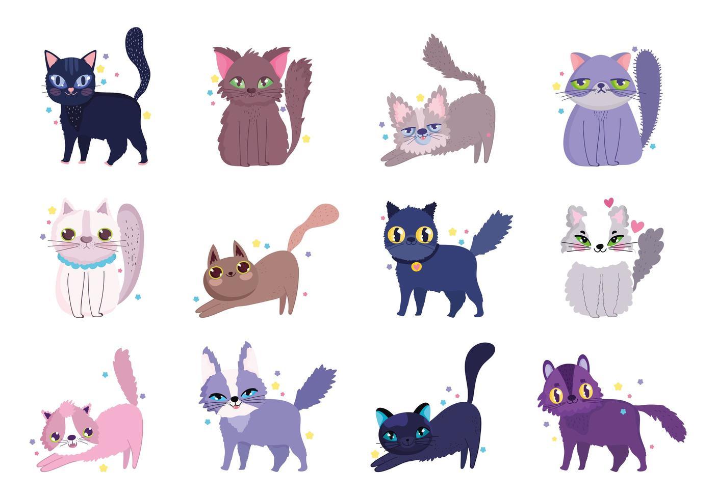 assortiment de chats mignons vecteur