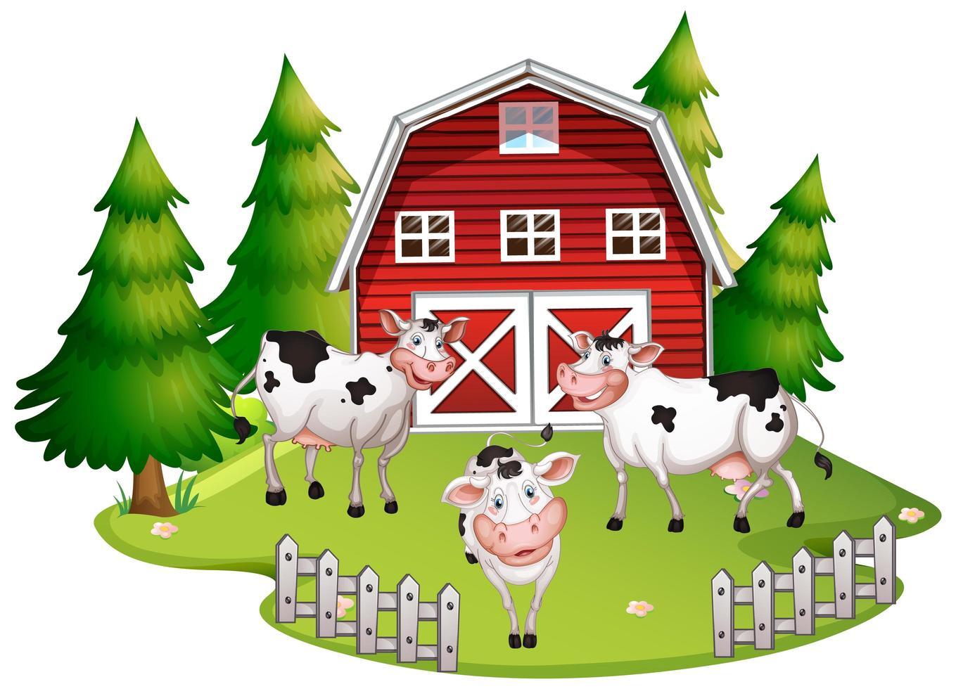 vaches sur des terres agricoles vecteur