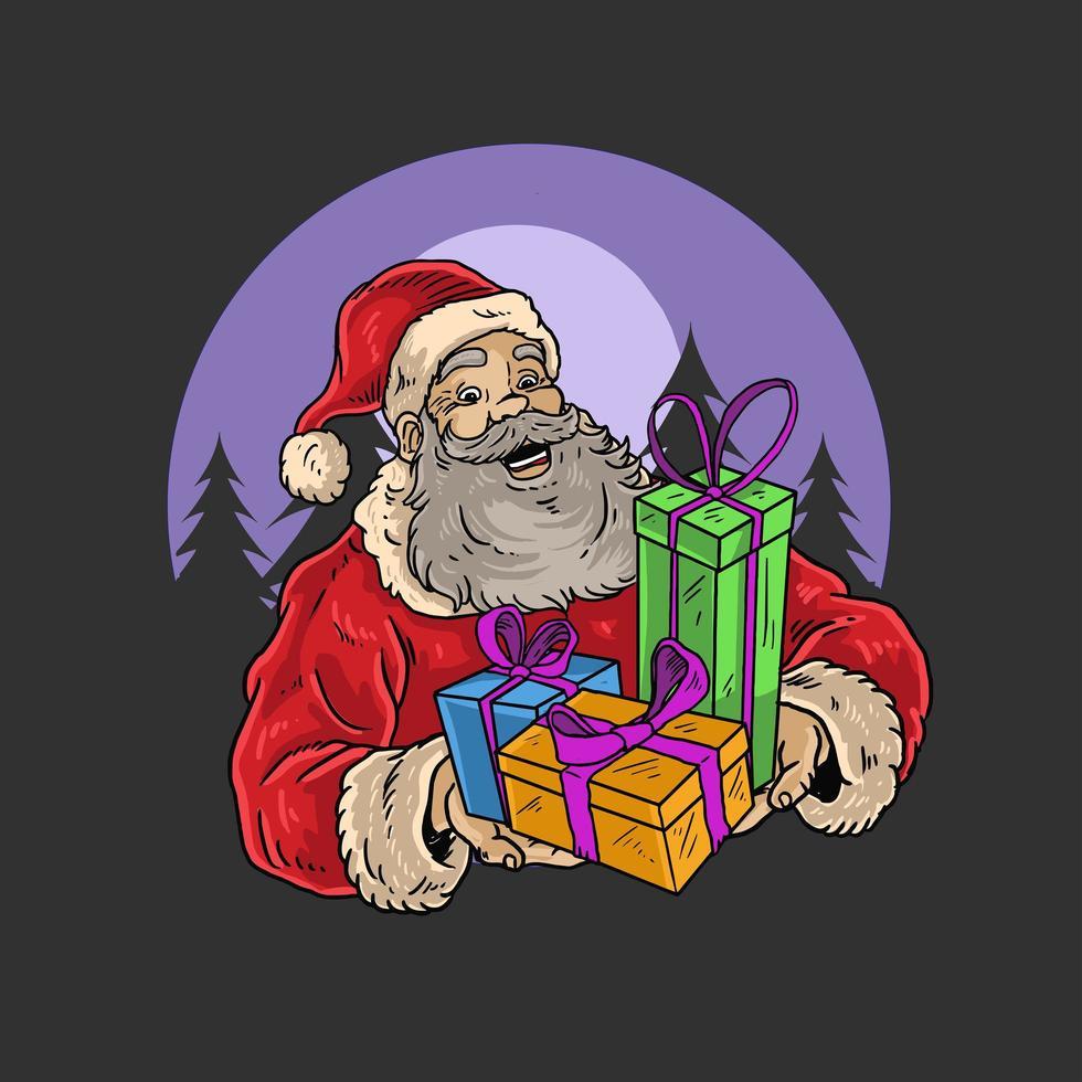 père noël tenant des cadeaux aux couleurs vives vecteur