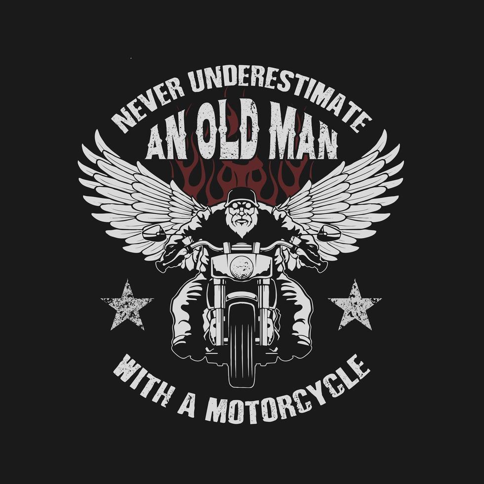 vieil homme avec un design de moto vecteur