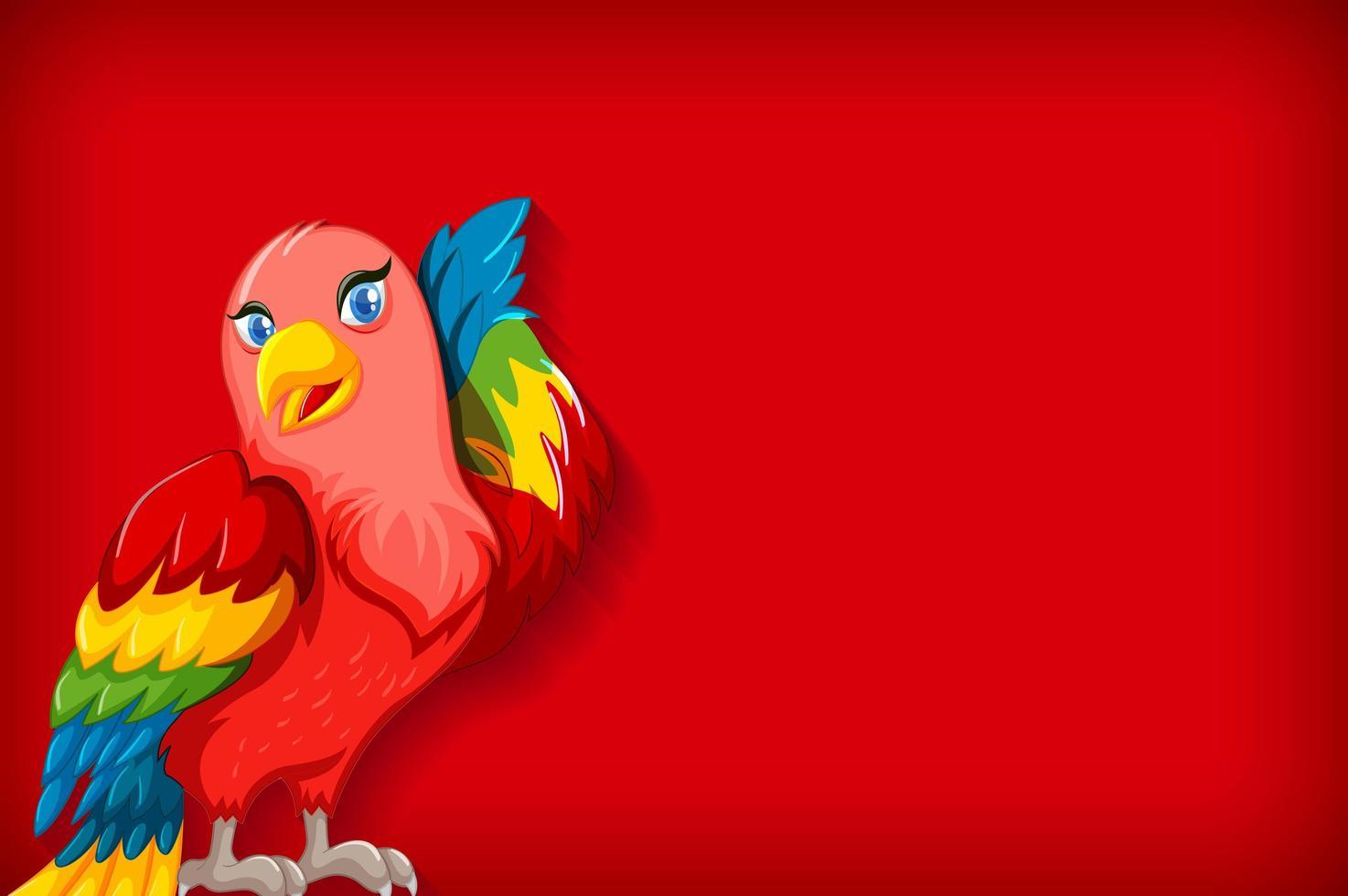 modèle de fond avec une couleur unie et un perroquet coloré vecteur