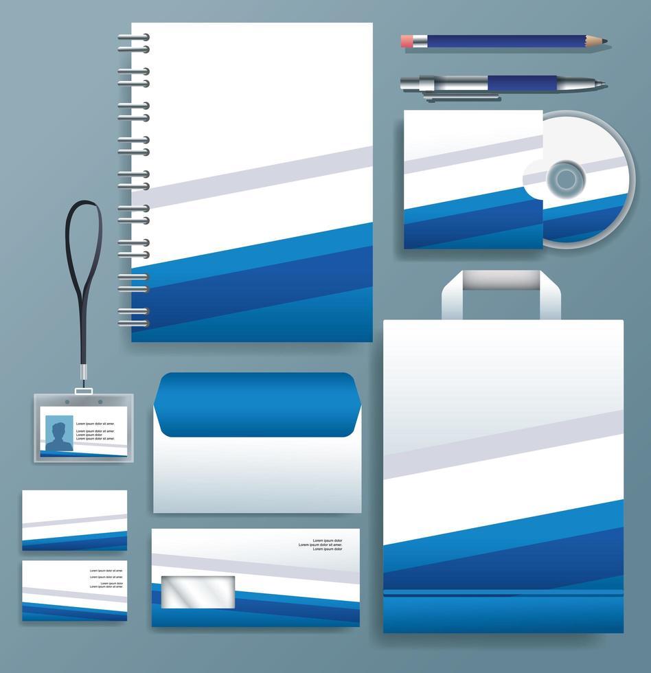 ensemble de modèles stationnaires bleus, blancs sur fond gris vecteur