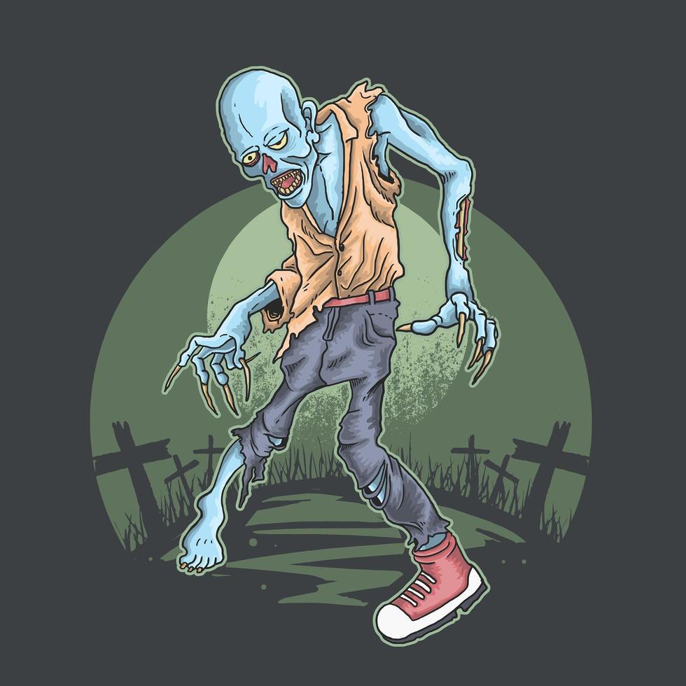halloween zombie surgit du cimetière vecteur