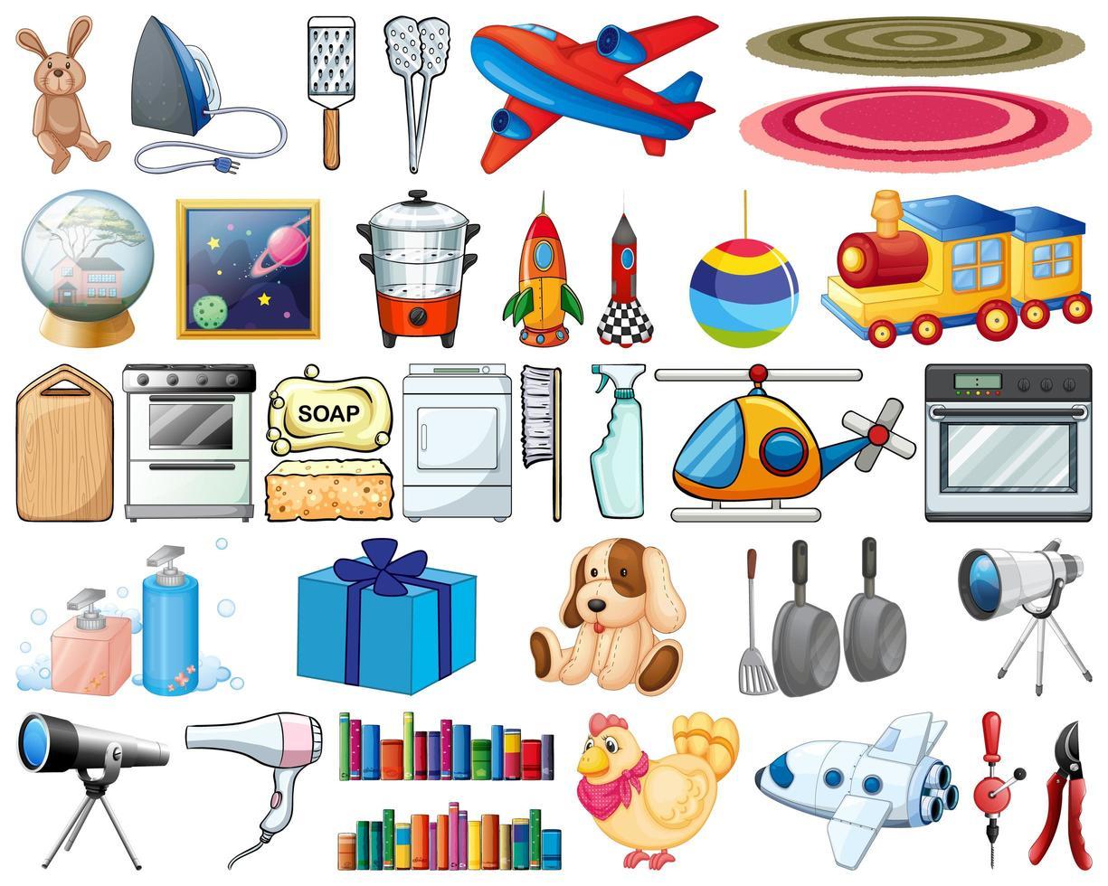 grand ensemble d'articles ménagers et de jouets vecteur
