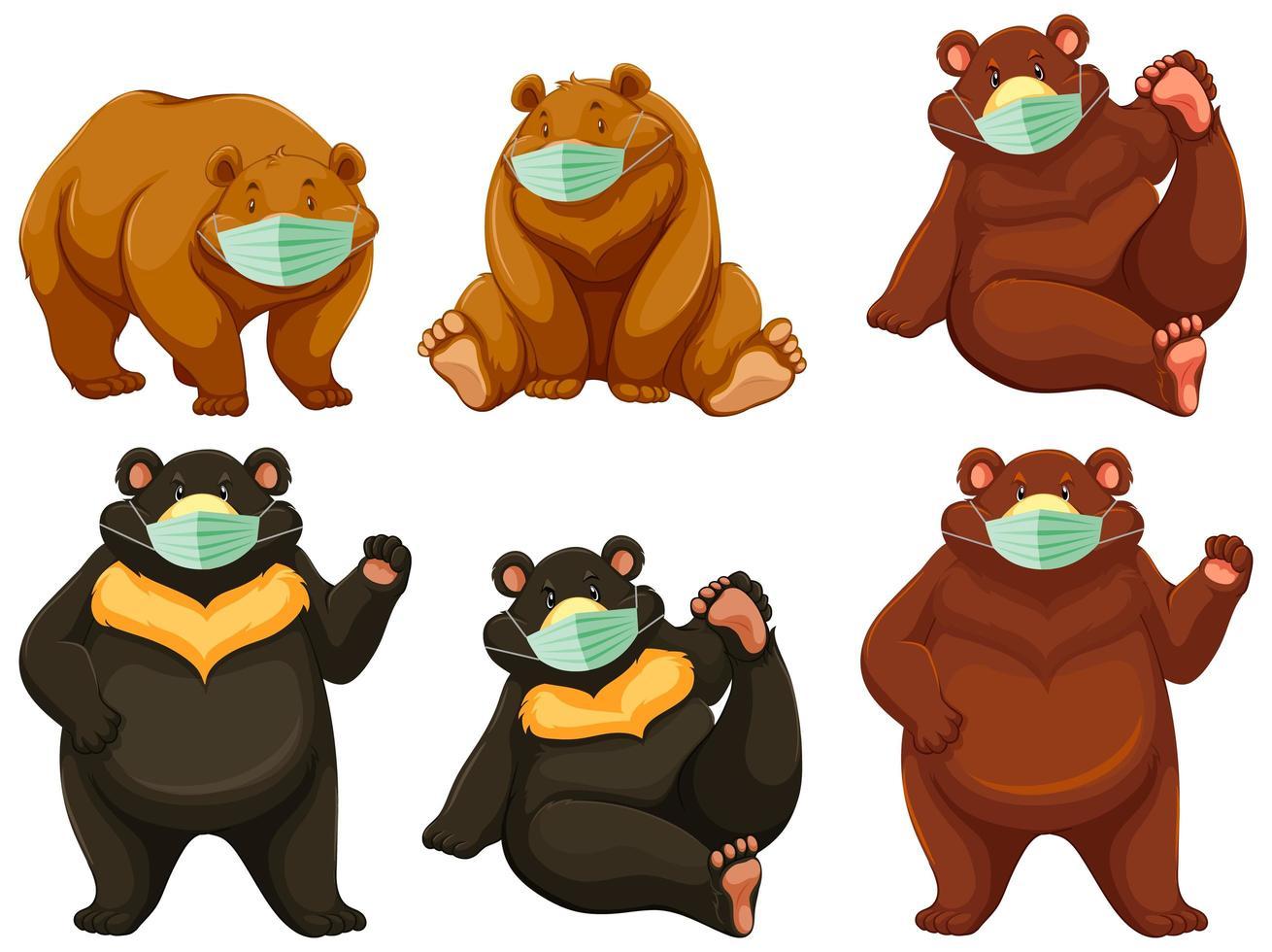 personnage de dessin animé ours sauvage portant un masque vecteur