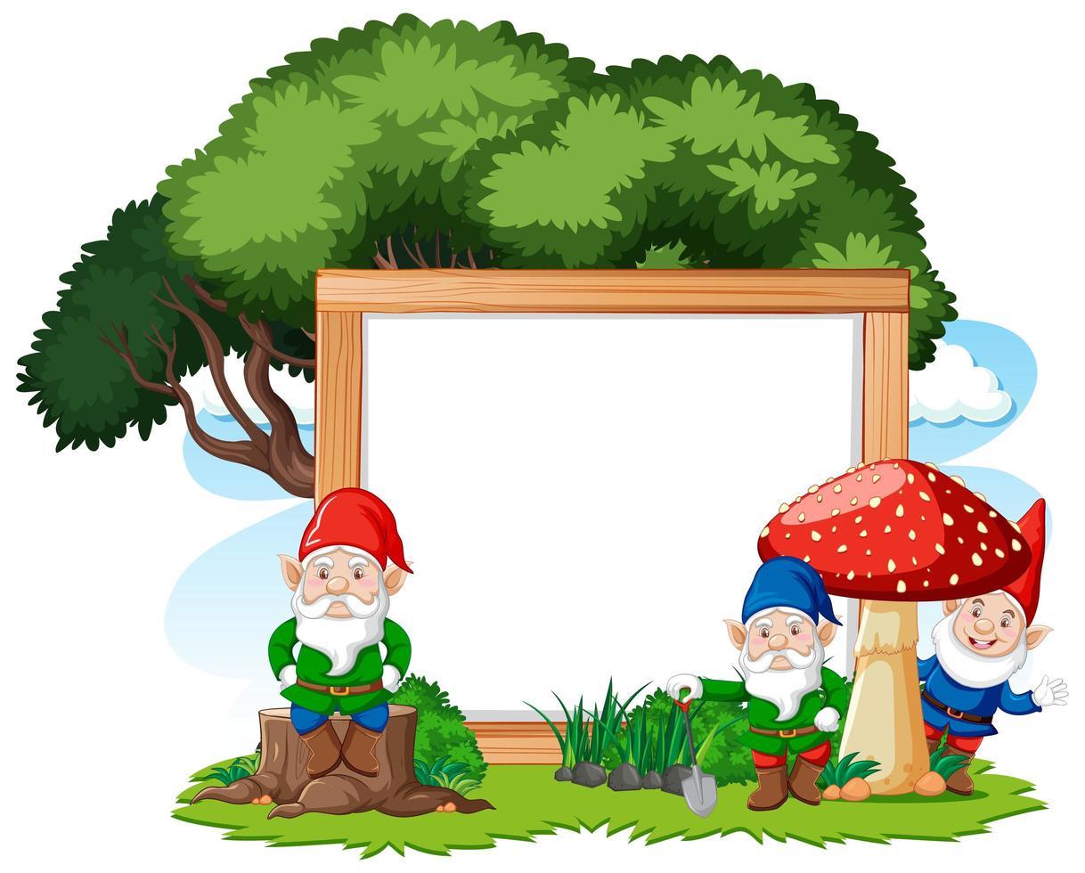 gnomes et arbre avec bannière vierge vecteur