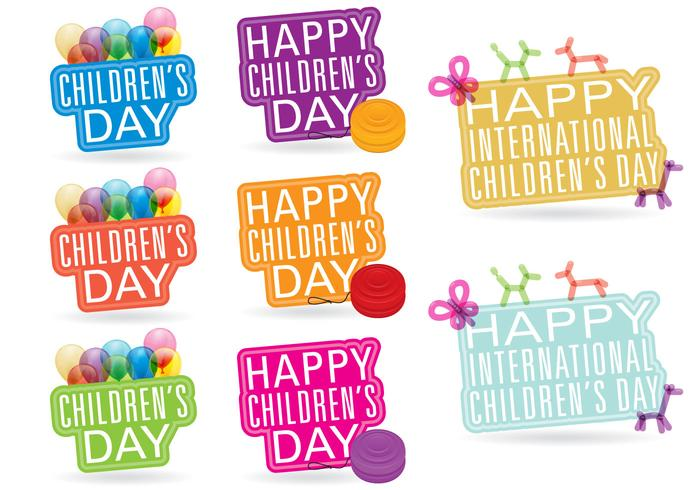 Titres de la Journée de l'enfant vecteur