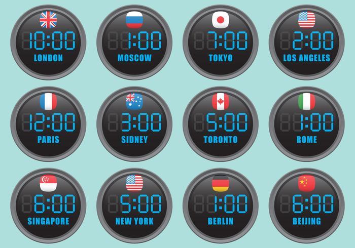 Horloges internationales numériques vecteur