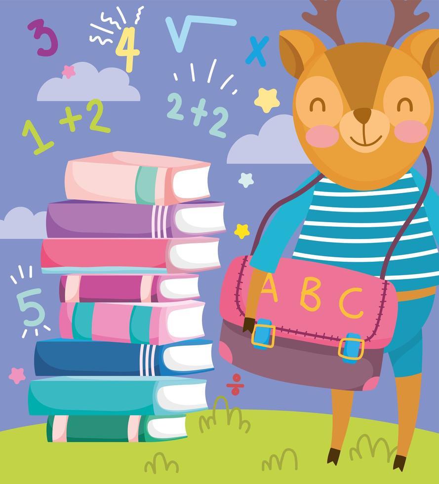 cerf mignon avec une pile de livres de mathématiques vecteur