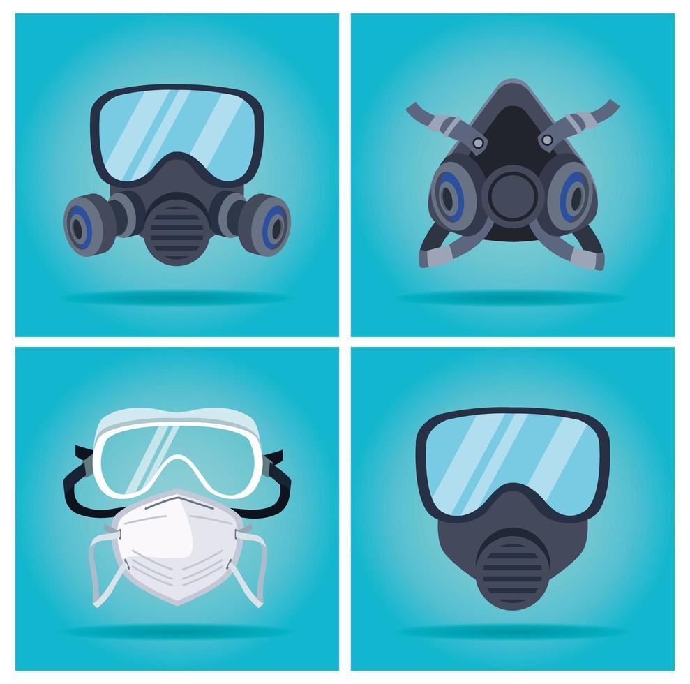 masques de biosécurité et ensemble d'accessoires de protection des bouchons vecteur
