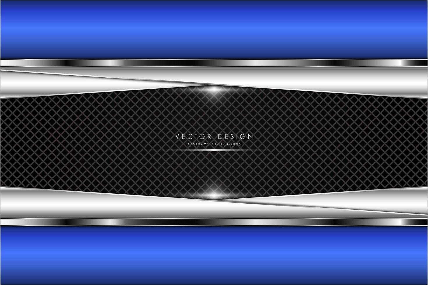 Bordure bleue métallique et plaques angulaires argentées sur la texture de la grille vecteur