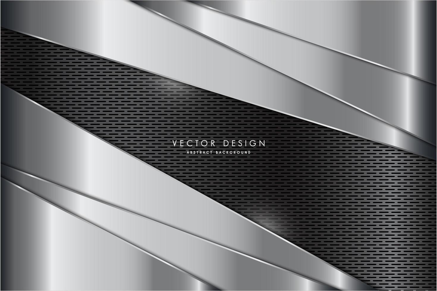 panneaux argentés arrondis métalliques avec texture en fibre de carbone vecteur