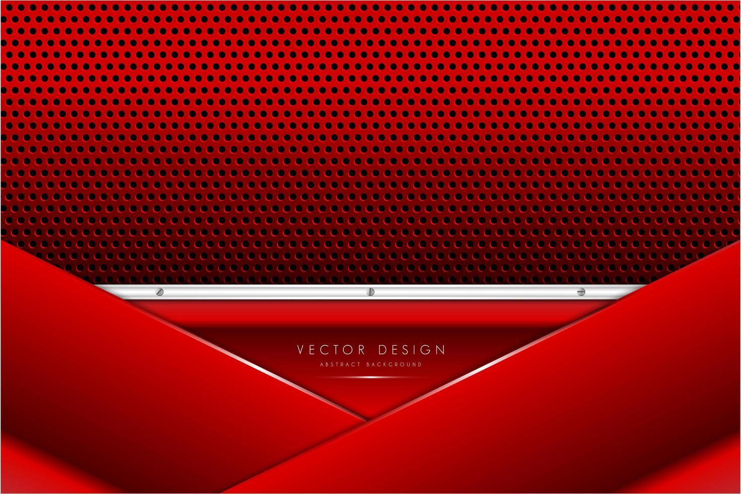 panneaux rouges et argent métalliques avec texture en fibre de carbone vecteur