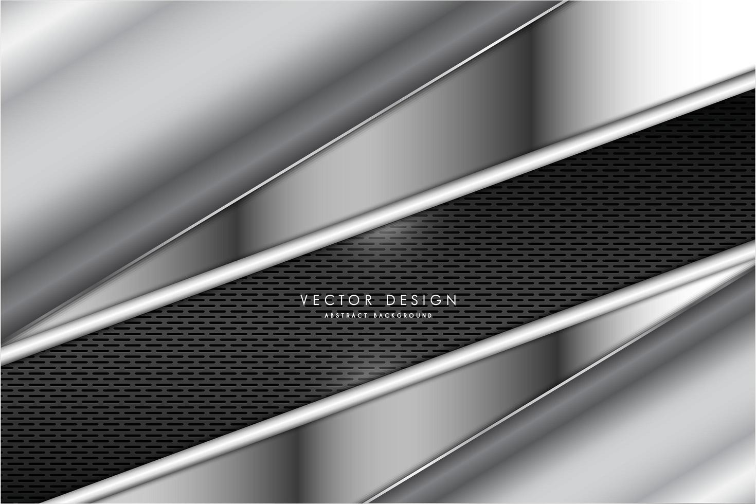 panneaux argentés à angle métallique avec texture de grille sombre vecteur
