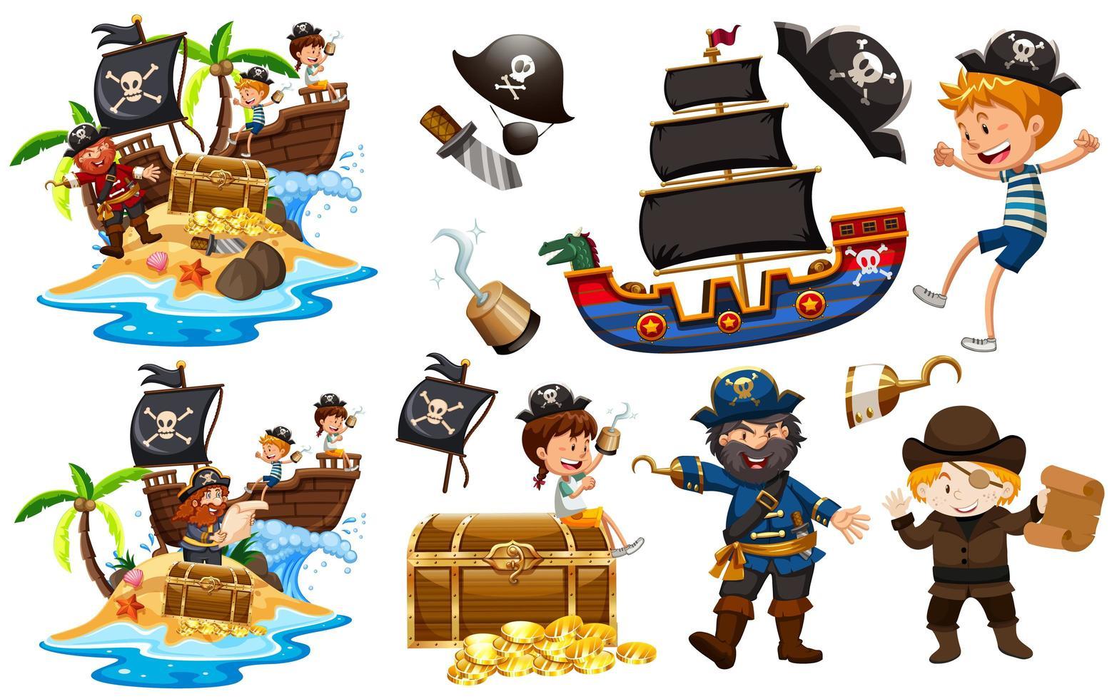 ensemble de pirates avec navire et or vecteur