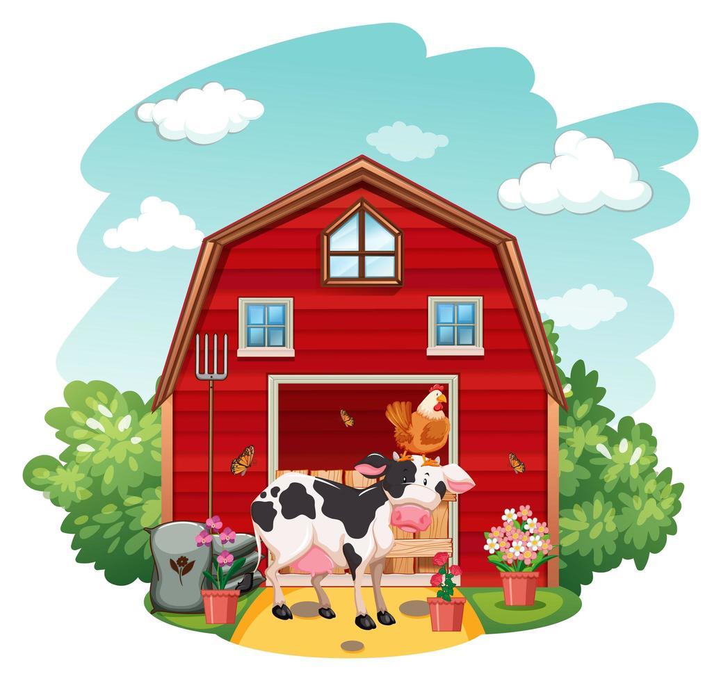 scène de ferme avec animaux et grange vecteur