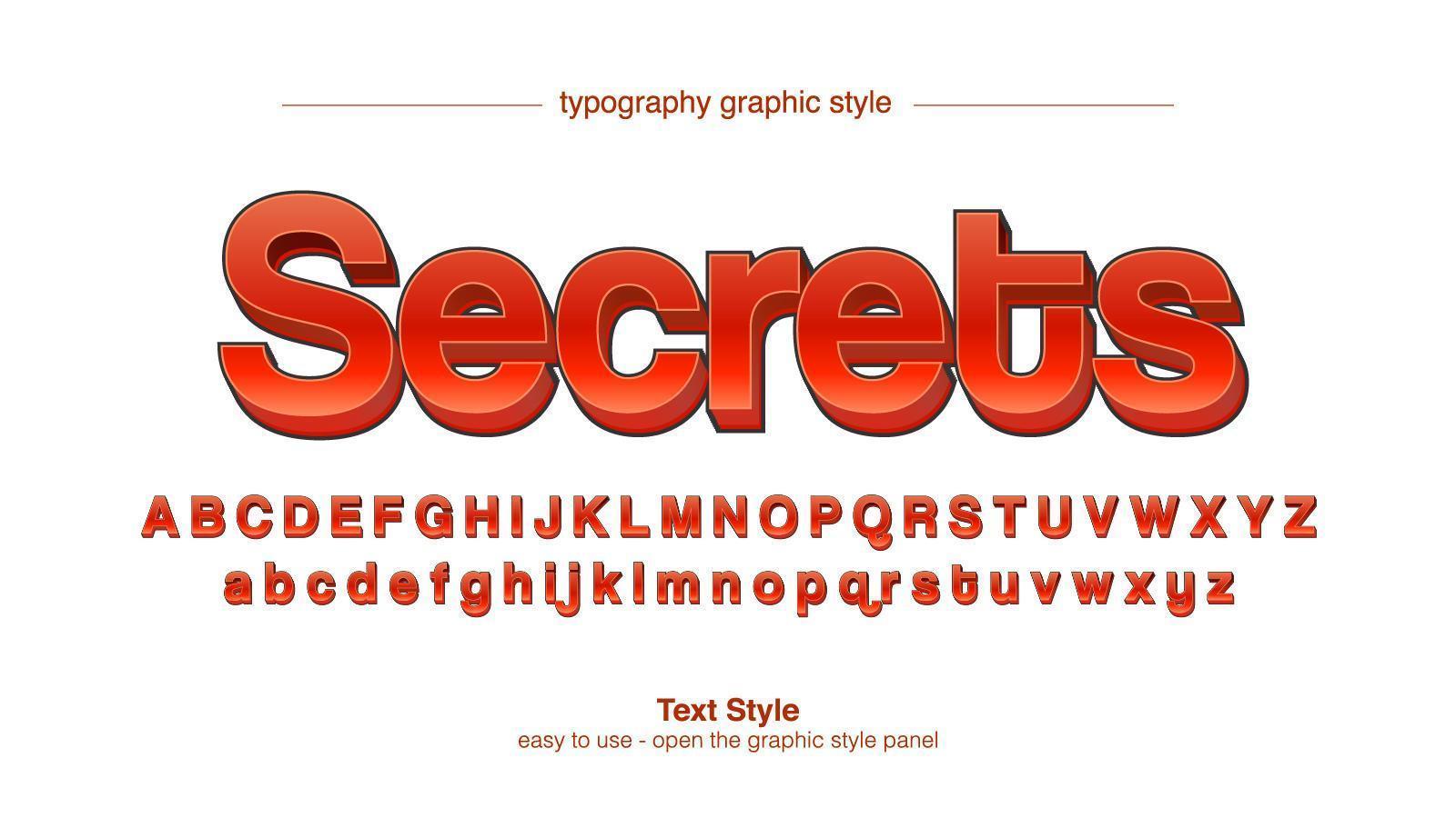 typographie d'affichage caricaturale 3d sans empattement rouge vecteur