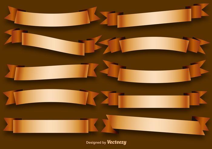 Ensemble vectoriel de rubans dorés