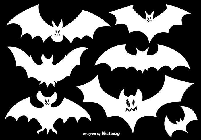 Ensemble de vecteurs de chauves-souris silhouettes blanches vecteur