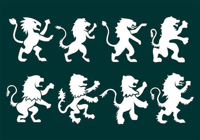 Icônes rampantes de lion vecteur
