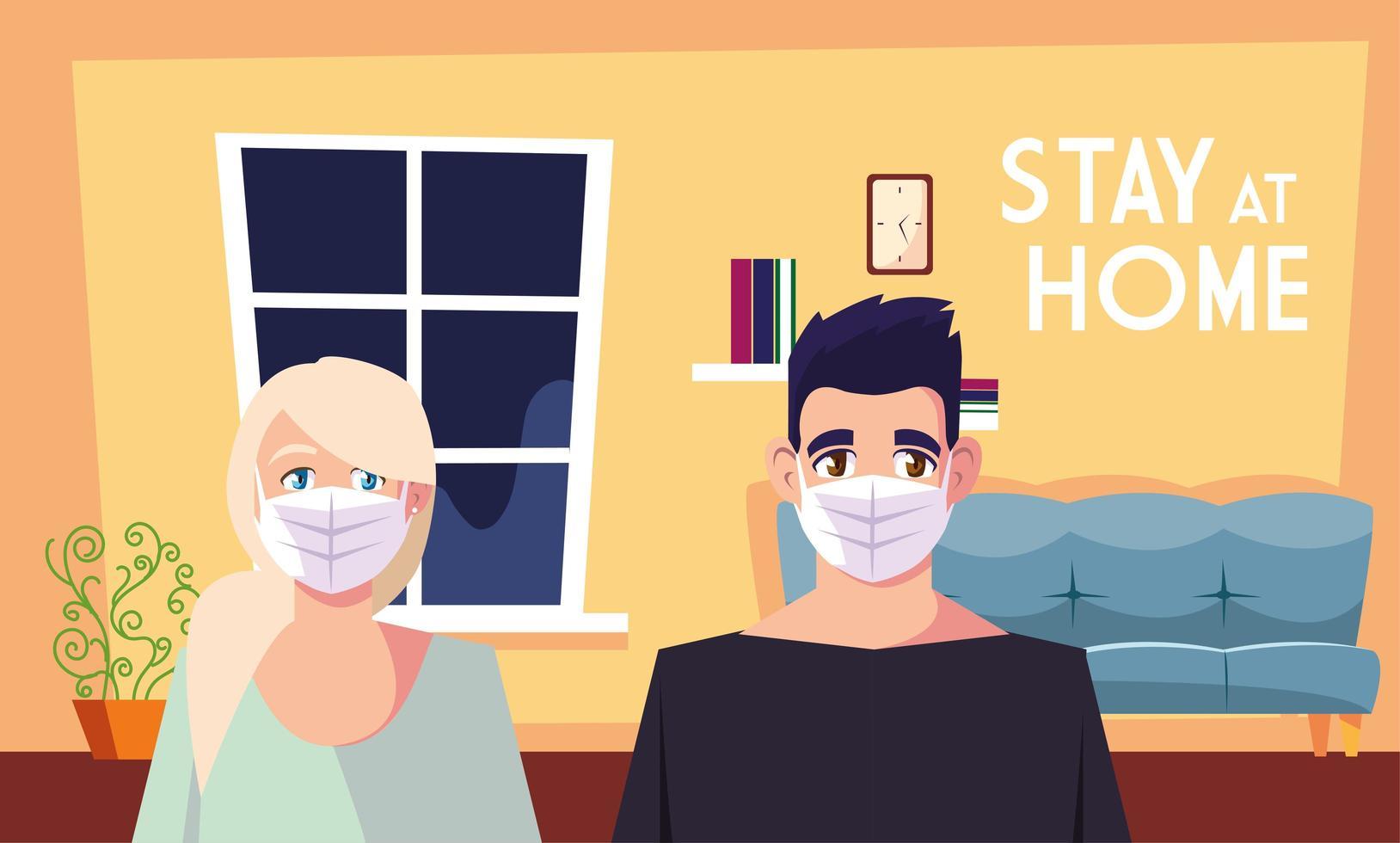 rester à la maison sensibilisation et un couple dans le salon vecteur