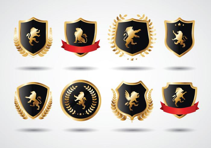 Free Lion Rampant Gold Shield vecteur